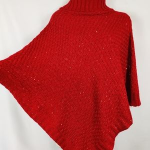 Knit sweater red poncho cape sequence turtleneck